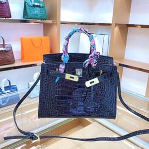 25 cm çanta çanta çanta kadın tote omuz çantaları ile damgalı kilit cowskin hakiki deri çanta eşarp at charm ücretsiz kargo