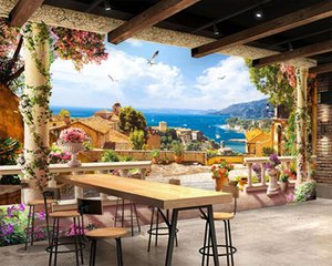 Custom 3d Seascape Wallpaper Retro European Seaside House Romantic Landscape Decorative Silk 3d Mural Wallpaper