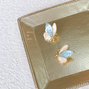 Retro Blue Pink Glaze Super Fairy Symmetrical Butterfly Earrings Gold 925 Silver Stud Earrings