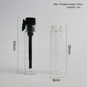 Best Quality 100 X 1ml Mini Glass Perfume Bottle Small Parfume Sample Vials Tester Trial Perfume Bottle Clear Black Stoppers Free Shipping