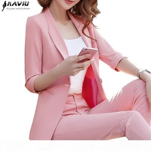 2018 New ladies temperament fashion pants suits autumn half sleeve slim blazer and pants office ladies plus size work wear