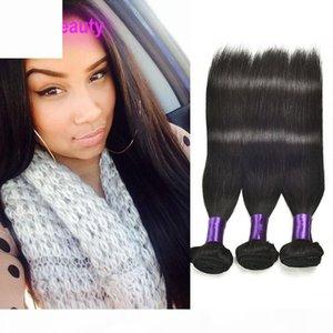 Pelo virgen brasileño 3 paquetes rectos paquetes humanos cabello 3 piezas lot sedoso recto de 8-30 pulgadas doble cabello extensiones