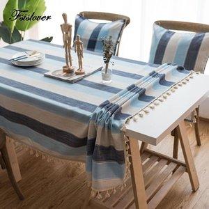 Fsislover Stripe Table de table décorative étanche Nappe vert Restauration rectangulaire Couverture de table de polyester haute qualité