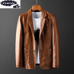 PU-Lederjacken Mens Tops Slim Fit Anzug Mantel Mode Motorradjacke Männliche Vintage Einreiher Anzüge Lässige Oberbekleidung H1210