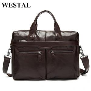 WESTAL Men's Bag Genuine Leather Messenger Bag Men Leather Men's Shoulder Crossbody Bags for Men Laptop Bags Briefcases Totes