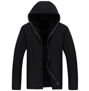 Autumn and winter men's new fleece sweater plus velvet loose large size cardigan hooded warm fleece jacket men