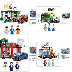 Sluban City Car Service Center Station Bricks City Street Maison Réparation Shop Figures Modèle Modèle Blocs de construction Jouets pour Kid Cadeaux Q1222