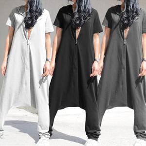 Womens Jumpsuits Vintage Short Sleeve Hoodies Playsuits 2020 Celmia Casual Drop Crotch Zipper Long Rompers Plus Size Overalls