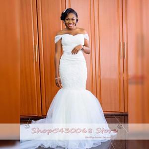 2021 New Wonderful Darling Mermaid Wedding Dresses Tulle Sweeping Train Rentals Off Shoulder to the Floor Dressed As a Bride CUM8