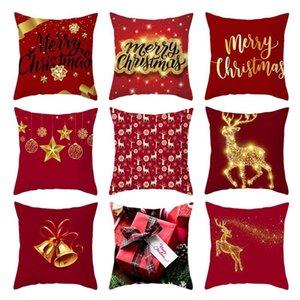 Christmas Cushion Cover Elk Printed Sofa Pillow Case Seat Car Throw Pillowcase Christmas Decoration For Home Decorative