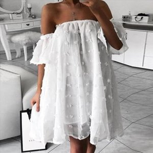 19 Fashion Womens Casual Wave Point Jacquard Flat Shoulder Tube Top Sexy Loose Dress ladies Patchwork Lace Cute Style dress 506