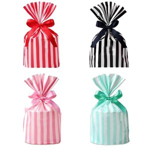 Creative Bow Tie Stripe Cookie Candy Gift Bags For Biscuits Snack Baking Package Bag Event Party Supplies No Ribbon Sticker