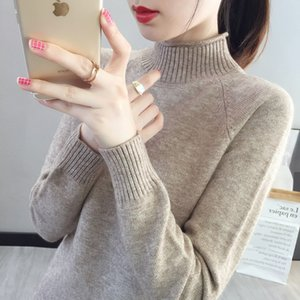 2020 Autumn and Winter New Mock Neck Sweater Womens Inner Wear Loose Pullover Knitting Bottoming Shirt Top Short Korean Fashion