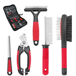 Dog Grooming Comb Brush Set Cat Nail Clippers Stainless Steel Comb Pet Hair Grooming Tool Set For Short Long Hair D bbyMRZ