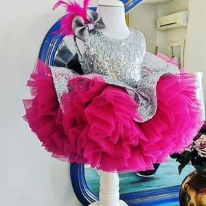 Vestidos de niña de flores con lentejuelas plateadas 2021 FUCHSIA TUTU Faldas Lindas plumas Bow Girl's Pageant Dress Vestido de comunión Formal Al8281