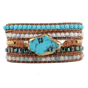 Mixed Handmade howlites Bracelet Natural Stones turquoises Charm 5 Strands Wrap Bracelets Women Leather Bracelet Dropshipping Y200730