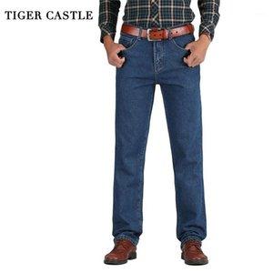 TIGER CASTLE Мужчины Хлопок прямые классические джинсы мешковатые плюс размер весна осень мужские джинсовые брюки прямые дизайнерские брюки Male1