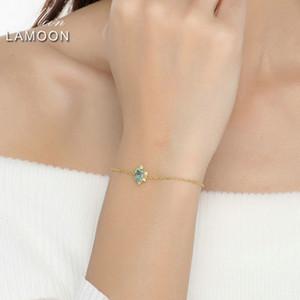 Lamoon Apatite 1. 100% Natural Pear Cut Blue 925 Sterling Silver Jewelry Chain Bracelet LJ201020