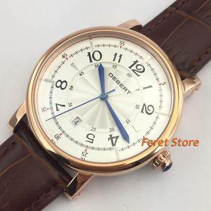 Digione in acciaio inox DEBERT Cassa in acciaio 43mm quadrante bianco puntatore blu automatico data giorno orologio da uomo