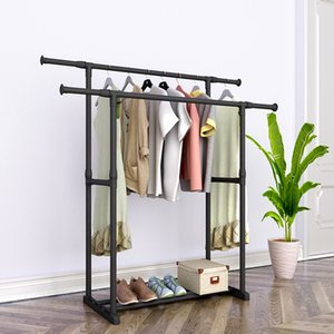 Double Pole Coat Reinforced Steel Frame Clothing Bedroom Furniture Mobile Drying Rack Minimalist Floor Clothes Hanger Q1215