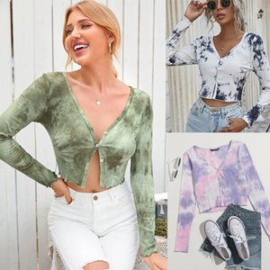 2021 spring new fashion tie dyed V-neck long sleeve cardigan T-shirt casual versatile Running Sportwear Hot Button Yoga Fitness slim Top