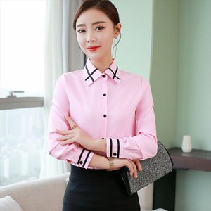 Women Korean Slim Work Blouses Office Long Sleeve White Shirts Fashion Casual Button Long Sleeve Blouse Women 2019 Autumn Tops
