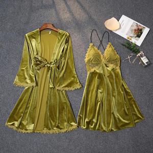 Femmes Green Kimono robe robe costume Sexy Col V-Col Visite de nuit sans dos avec soutien-gorge automne Nouveau Velours Tête de nuit Sweet Dentelle Peignoir