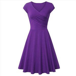 Fashion Women Solid Color V Neck Short Sleeve Plated Swing Party Banquet Dress Drop Shipping Good Quality