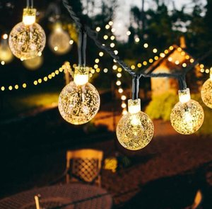6.5M 30 LED Crystal ball Solar Powered String Light Fairy Light for Wedding Christmas Party Festival Outdoor Indoor Decoration BWF3313