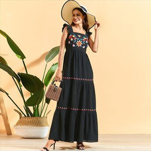 Summer Dress Ruffles Pleated Patchwork Square Collar Sleeveless Backless Embroidered Maxi Dress Black High Waist Swing