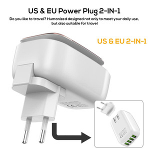 TOPK LED Lamp Auto-ID Mobile Phone Charger Multi-Port EU&US Plug USB Charger 2 3 4 USB Tarvel Wall Charger Adapter For iPhone FY7474