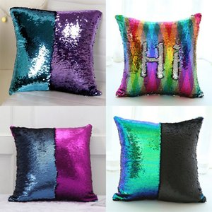 Multi Colour Sequin Pillow Case Front Side 2 Colors Mix Sequins Back Sided Satin Cushion Cover Home Decoration Throw Pillows New 7 6pc L2