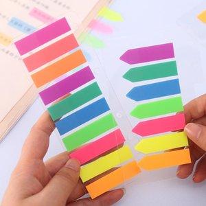 هدية التفاف الملونة لزجة السهم أعلام ملصقا المواد الحيوانات الأليفة شفافة لاصقة ذاتية اللصق ملاحظات الفلورسنت المرجعية علامة مذكرة