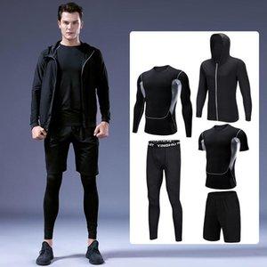 Laufsets 5 stücke Outdoor Gym Kleidung Männer Basketball Training Trainingsanzug Fitness Jogging Sportswear Kompression Sportanzug 4XL