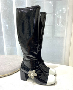 Black white color matching patent leather women high boots diamond flower chunky heel knee boots fashion dress shoes