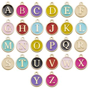 Popular Design DIY Jewelry Accessories Blue Black White Pink English Letter Charm 12MM Enameled Alloy Charm 26PCS Set