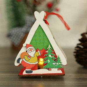 New Christmas Luminous Cabin Christmas Wooden House Glitter LED Light Home Decoration Night Lamp Pendant Led Candles Prop