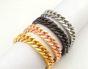 """الذهب مطلي الفولاذ المقاوم للصدأ أساور كبح سلسلة الكوبي سلسلة مجوهرات رجالي، 8.7 """"طويل، 10 ملليمتر واسعة، الجملة شحن مجاني"""