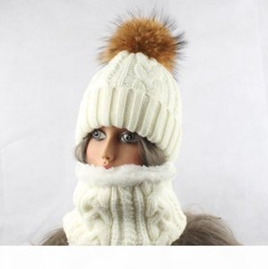 Winter Fleece Hat Scarf For Women Fur Pompom Hat Sets Thick Knitted Warm Hat and Scarf Sets Free Shipping