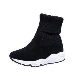 Nausk Kadınlar Kar Botları Akın Streç Çorap Nefes Platformu Peluş Kürk Patik Süet Sıcak Ayakkabı Kadın Kış Çizmeler Kar Sneaker1
