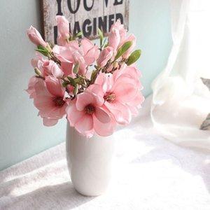 Artificielle Fake Flowers Feuille De Magnolia Floral Mariage Bouquet Entrée Décor Mariage De Mariage Faux de fleurs Festival Festival Fournitures Accueil Decor1