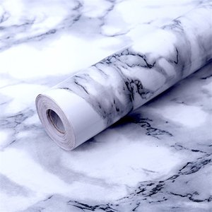 White Gray Marble Wallpaper Easily Removable Wallpaper Peel and Stick Countertops Kitchen Wall Stickers 0.6*1M DHB3898