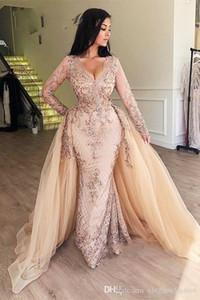Arabic Champagne Sequin Mermaid Evening Dresses with Detachable Skirt V-Neck Dubai Women Formal Prom Dresses Long Sleeves robe de soiree