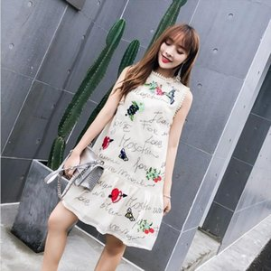 New arrival Runway high quality letter embroidery sequined vest dress women mini short chiffon summer dresses Vestidos robes
