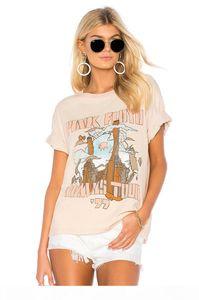 Women Boho T-shirt Retro Beige summer tee American Punk Rock Band Bohemian T-shirt women short sleeve round neck casual tee tops 2019 new