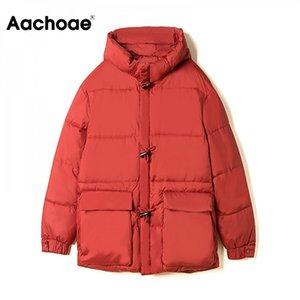 Aachoae Uzun Kollu Katı Casual Kadın Parkas Kalınlaşmak Sıcak Kapüşonlu Ceket Kış Sonbahar Fermuar Cep Gevşek Mont Femme Veste 210203