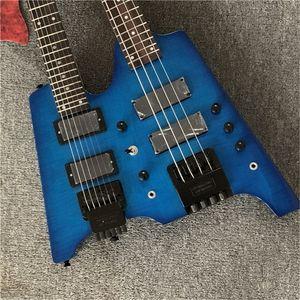 Fabrika özel çift boyunlu mavi elektrik bas ve gitar headstock olmadan, 4 + 6 dizeleri, alev akçaağaç kaplama, elektrik gitarları özelleştirilebilir