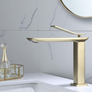 Basin Faucet Luxury Brush gold Single handle hot and cold Tap Bathroom Sink Faucet High Quality Brass Deck Mounted Mixer