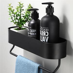 Aluminio espacio negro Estantes Baño Cocina estante de la pared de la ducha de almacenamiento en rack barra de toalla de baño Accesorios de 30-50 cm de longitud