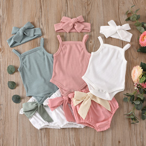 INS Summer Kids Clothes Baby Rompers Infants Knitted Sleeveless Suspender Jumpsuits with Bow Shorts Hairbands Toddler Girls clothes Outfits